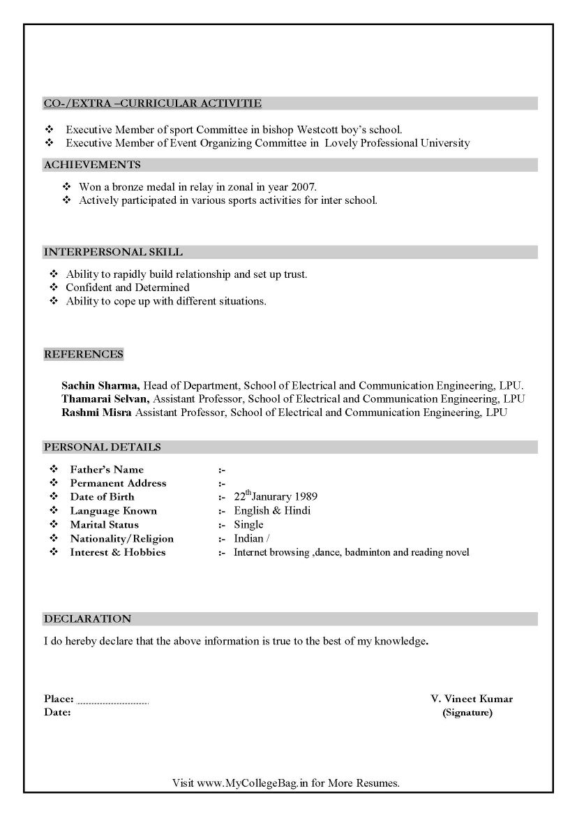 chartered accountant resume format freshers page cv examples - Hobbies In Resume For Freshers