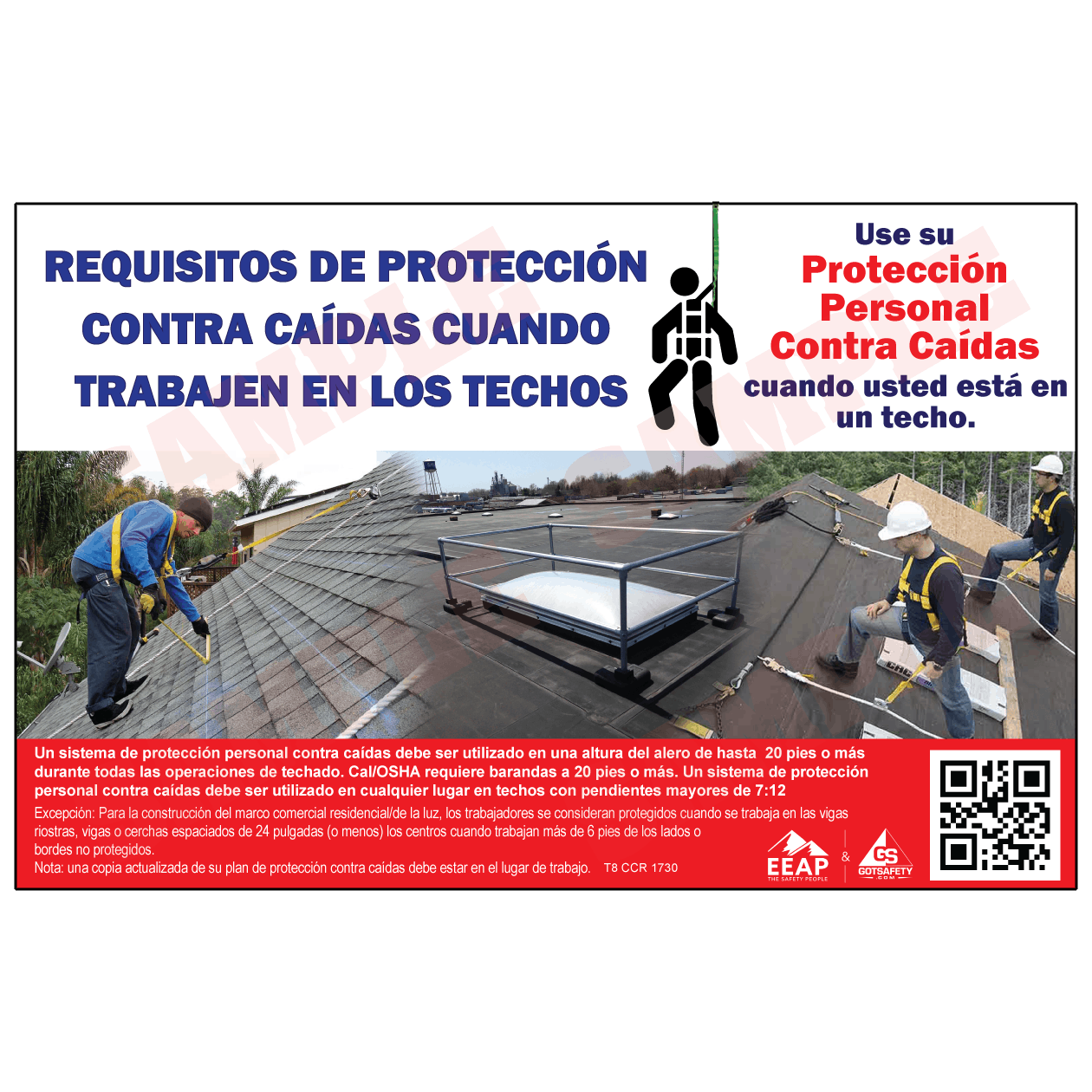 Poster In Spanish Roofing Fall Protection Poster Spanish