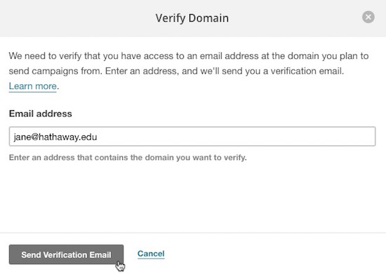 Verify an Email Domain Mailchimp - valid emails