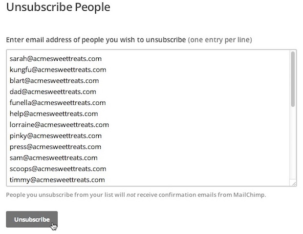 Unsubscribe People from a List