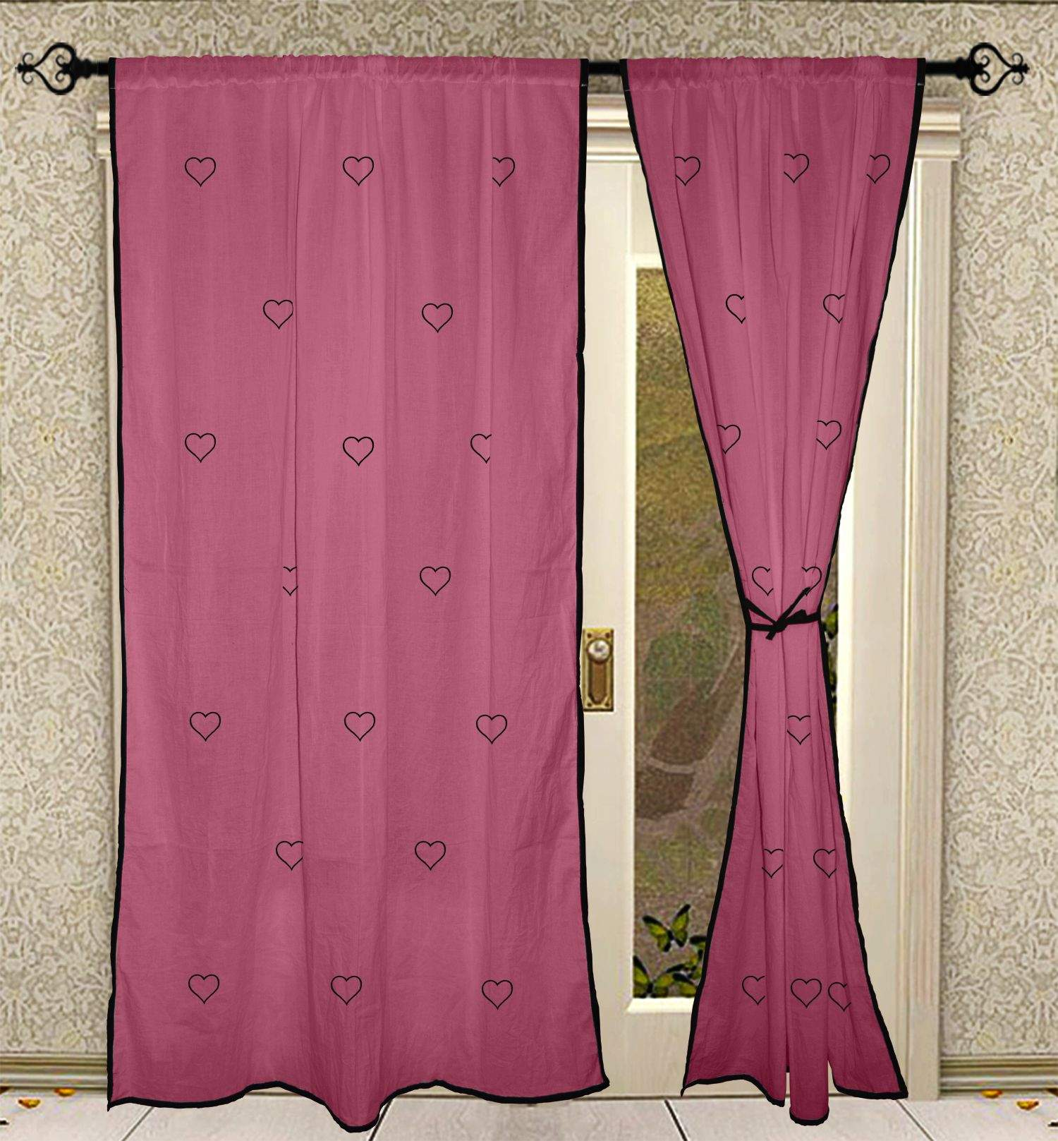 Pink Living Room Curtains Heart Hand Block Printed Living Room Door Solid Cotton Pink Curtains 2 Pcs Panel Set Eerra