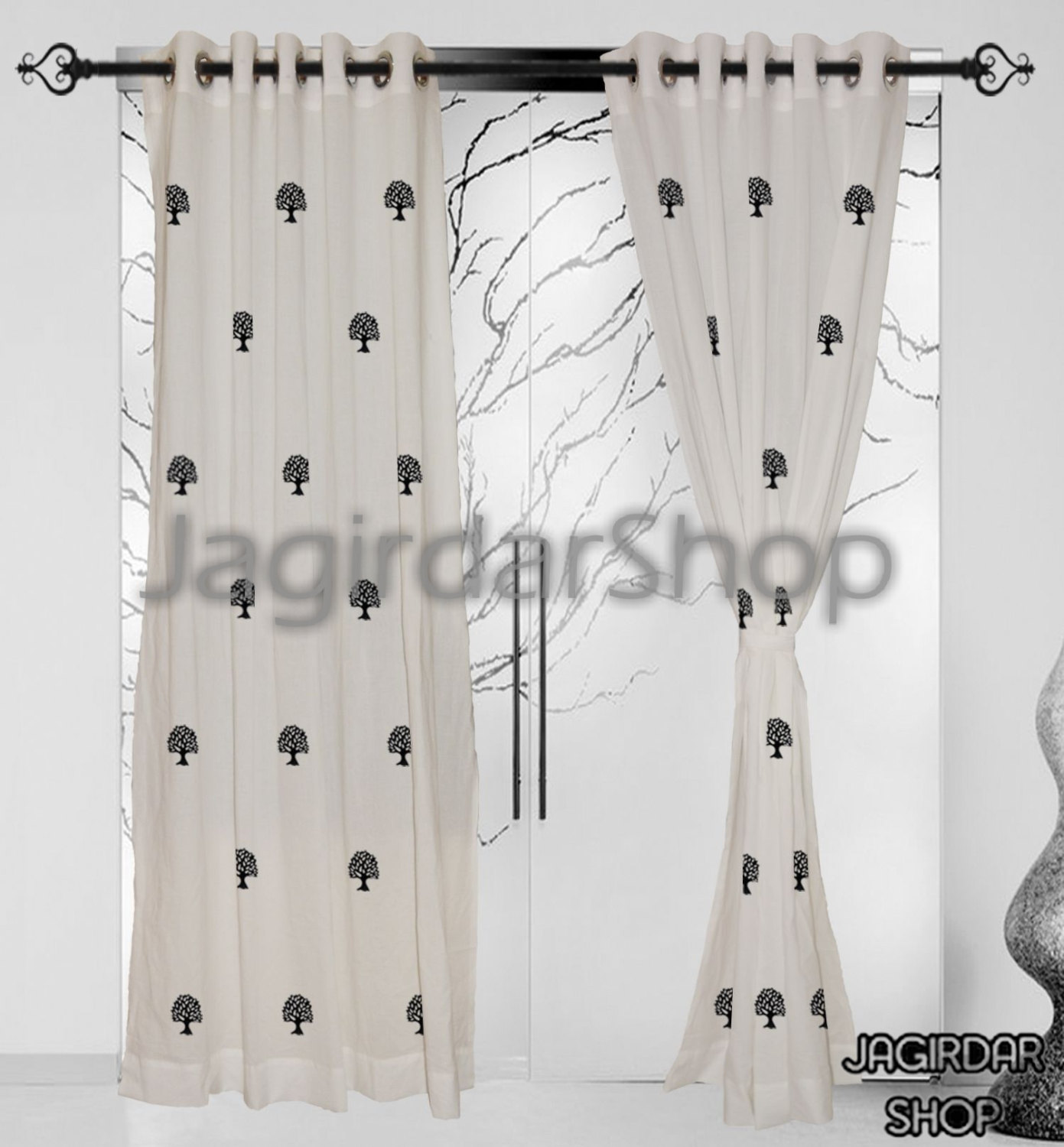 Cotton Curtain Panels Curtains Cotton White Hand Block Printed Eyelet Naturl Tree Curtain Panels Windows Door 2pcs Set Eerra