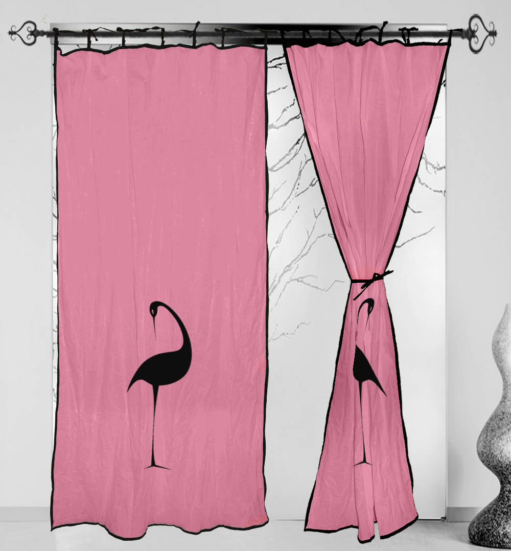 Cotton Curtain Panels Curtains Cotton Pink Hand Block Printed Tie Top Duck Curtain Panels Windows Door 2pcs Set Eerra