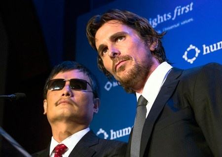 Chinese activist Chen Guangcheng, left, and actor Christian Bale stand together during the annual Human Rights First Dinner at Pier 60 at Chelsea Piers, Wednesday, Oct. 24, 2012, in New York. Guangcheng, a blind lawyer and activist made headlines earlier this year after the Chinese government allowed him to travel to the U.S. following his escape from house arrest and request for American protection. (AP Photo/John Minchillo)