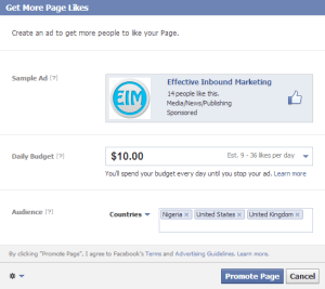 promote your page with facebook ads