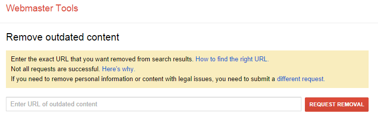 Webmaster Tools   My Removal Requests