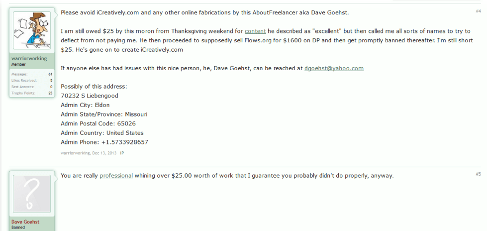 DigitalPoint Forums proof of David G being a scammer 3