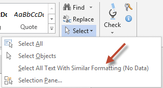 Select text with similar formatting
