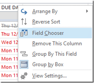 Outlook Field Chooser