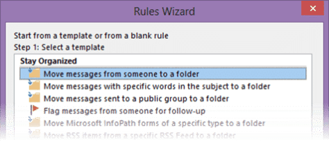 creating sender specific rules in Outlook