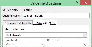 Show values as Pivot table