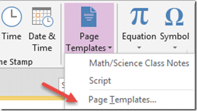 Save standard OneNote checklists as page templates