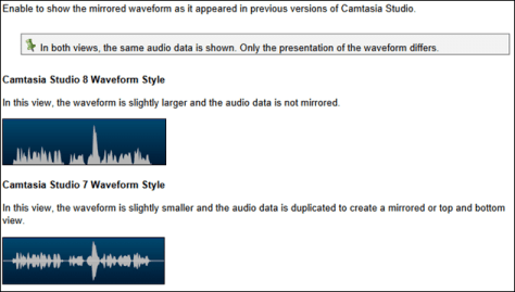 Camtasia waveform style