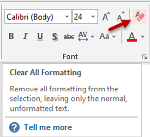 Clear all formatting