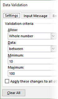 Data Validation in Excel - specifying the criteria