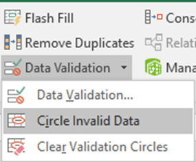Circle Invalid data option in Data Validation in Excel