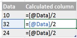 Base column with formulas