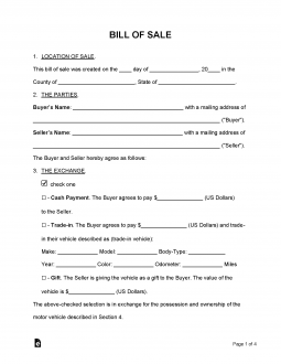 Free Bill of Sale Forms - PDF   Word   eForms – Free Fillable Forms