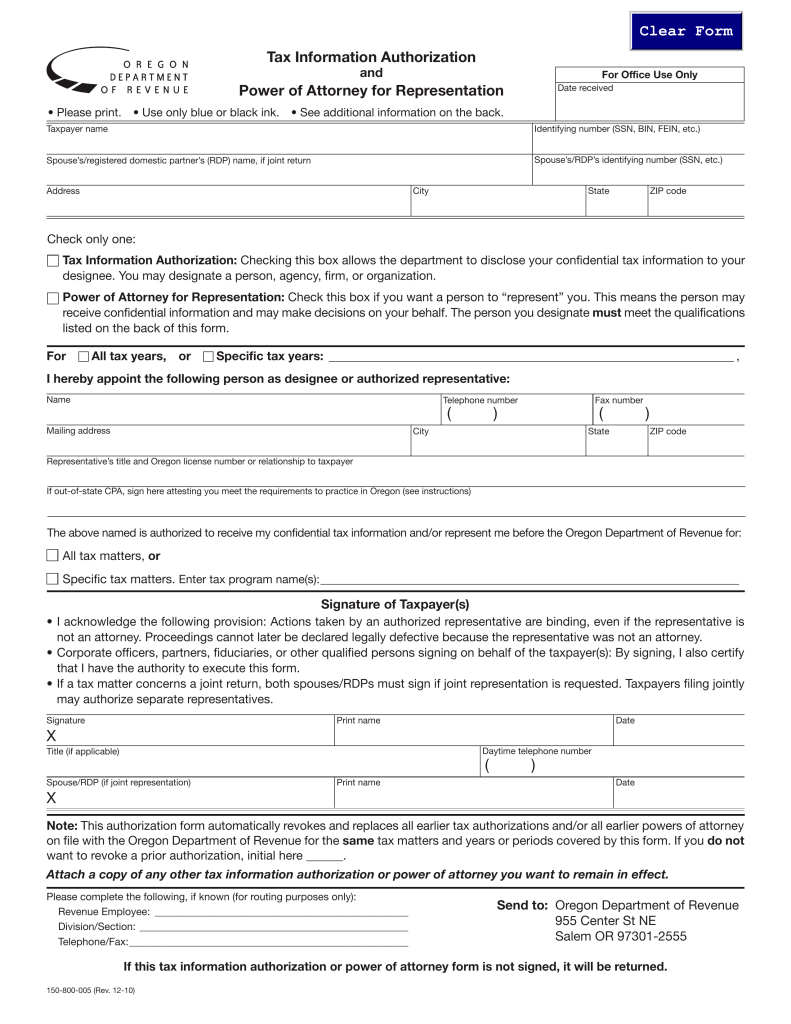 Oregon Tax Power of Attorney (Form 150