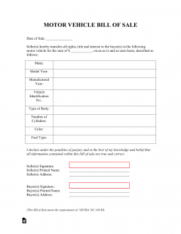 Free New Hampshire Bill of Sale Forms - PDF | eForms – Free Fillable Forms