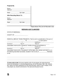 Free Nebraska Quit Claim Deed Form - PDF | Word | eForms ...
