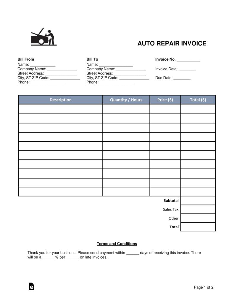 body shop invoice template