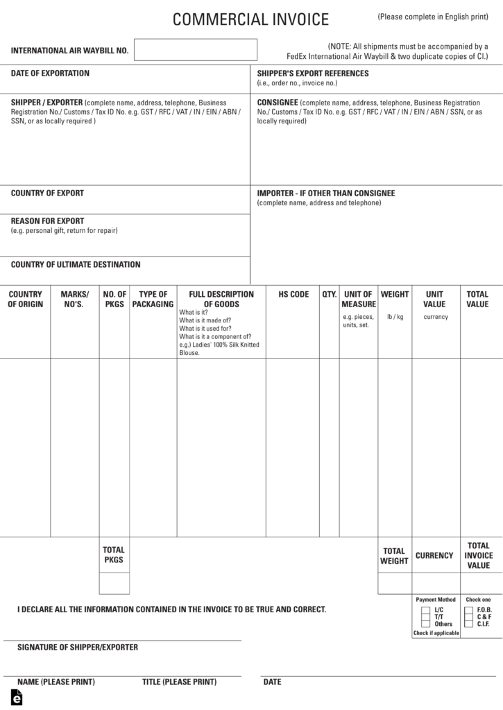 Blank Invoice Template 46 Documents In Word Excel Pdf Ups Commercial Invoice Fillable – Hardhostinfo