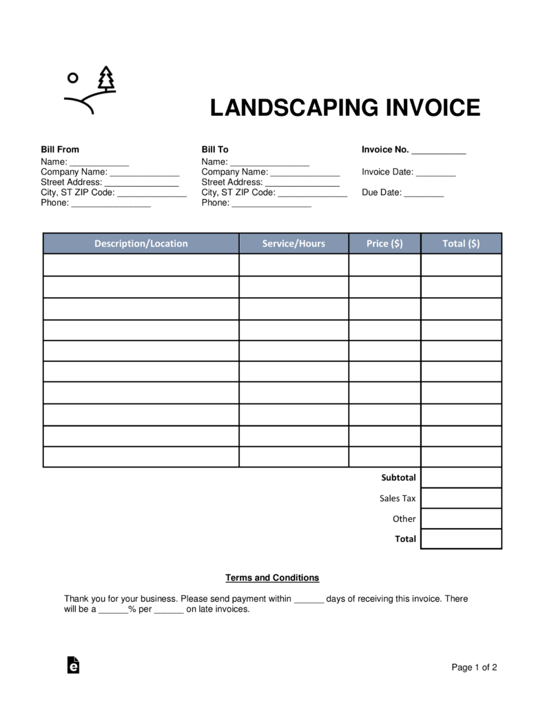 Blank Invoice Form Template Samplewords Forms Documents Free Landscaping Invoice Template Word Pdf Eforms