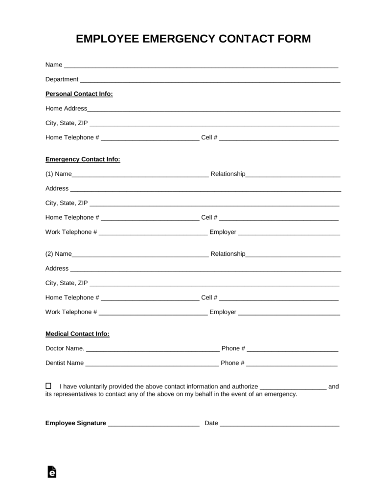 emergency contact forms for employees