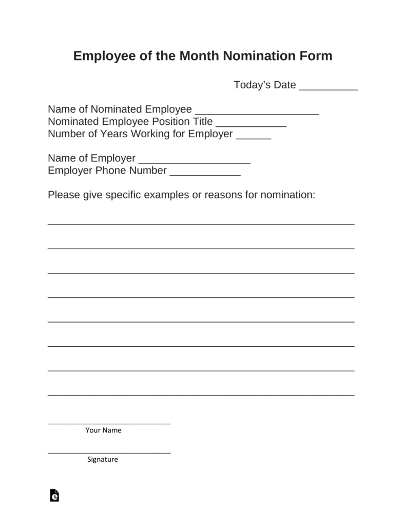 employee of the month nomination form template