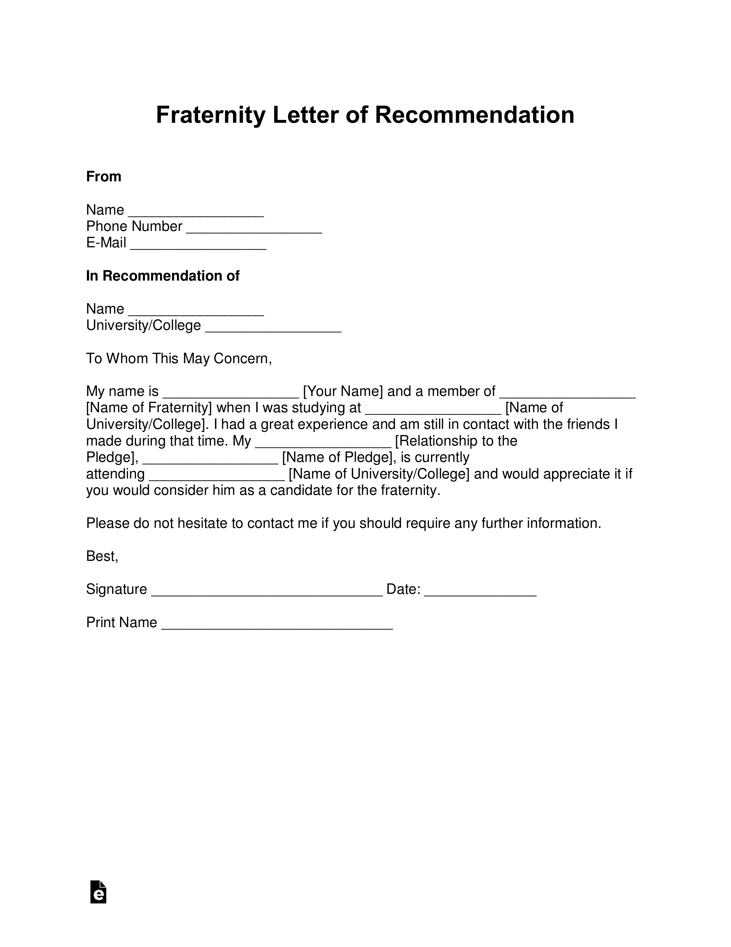 letter of recommendation for fraternity