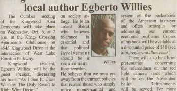 Kingwood Area Democrats To Feature Local author Egberto Willies