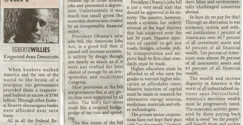 Kingwood Observer Article (2011-09-28) American Jobs Act Is Just A Start