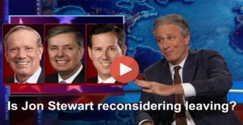 Jon Stewart has 'second thoughts' about leaving given GOP candidates (VIDEO)