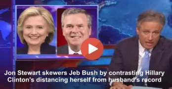 Jon Stewart has fun with Hillary Clinton & Jeb Bush and the Prez Clinton/Bush records (VIDEO)