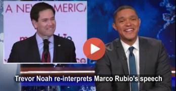 The Daily Show's Trevor Noah skewers Marco Rubio's 3rd place Iowa speech (VIDEO)