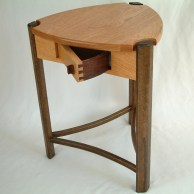 """One of a kind """"Trillium Table"""" black oak with unique spin out drawer"""