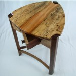 Spalted Maple and Walnut Trillium Table with Spin Drawer