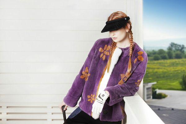 Purple Fur Jacket, Fur Flowers