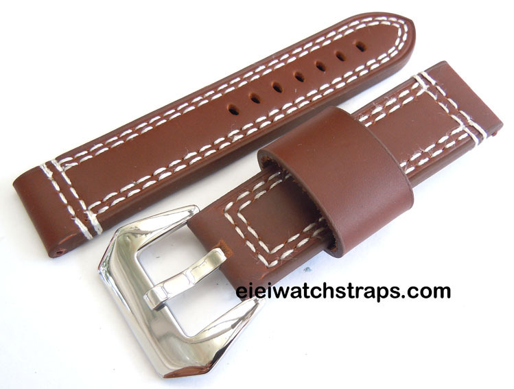 Hand Stitched Coffee Brown 22mm Leather Watch Strap