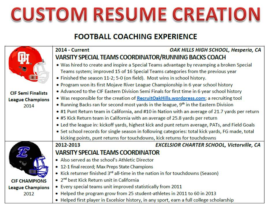 CUSTOM ATHLETIC RESUME (Standard 7 business days turnaround) Eight