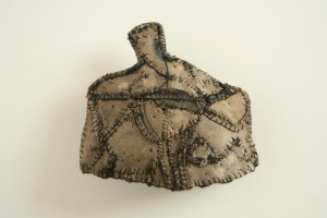 "Gown with Stomacher 3"" X 3 1/2"" leather, thread, wool, felt 2013"