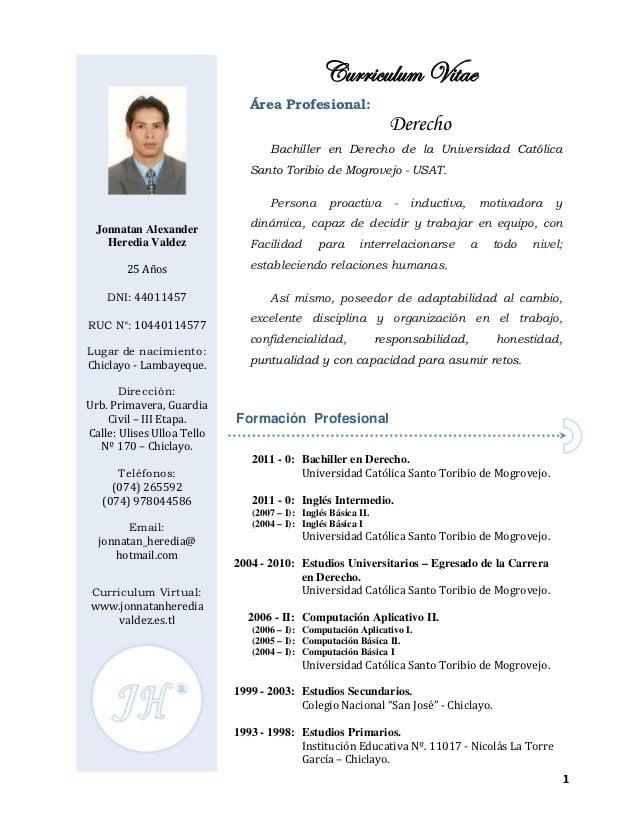 ... Modelo De Curriculum Vitae Abogado Curriculum Vitae De Un Abogado