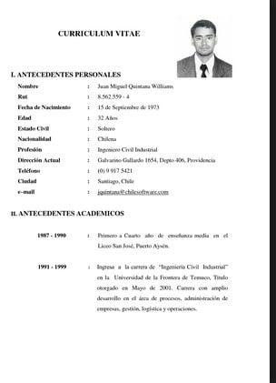 Como Hacer Un Curriculum Vitae Argentina Ejemplos Business Letter