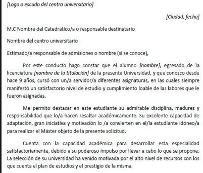 Ejemplo de carta de recomendación académica para máster - Ejemplos De
