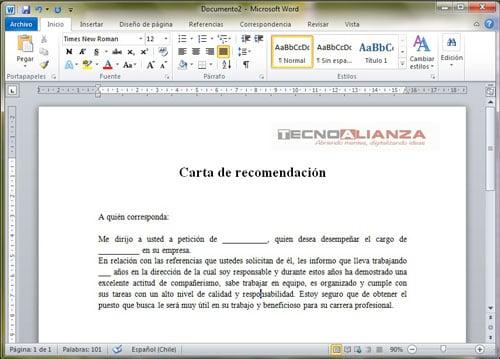 machote de carta de recomendacion personal en word - Acurlunamedia