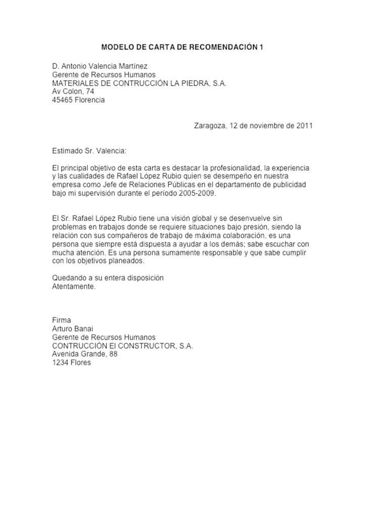 ejemplo de carta de recomendacion - Romeolandinez