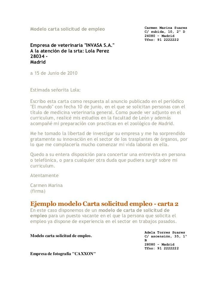 Ejemplo de carta formal para solicitar trabajo - Ejemplos De