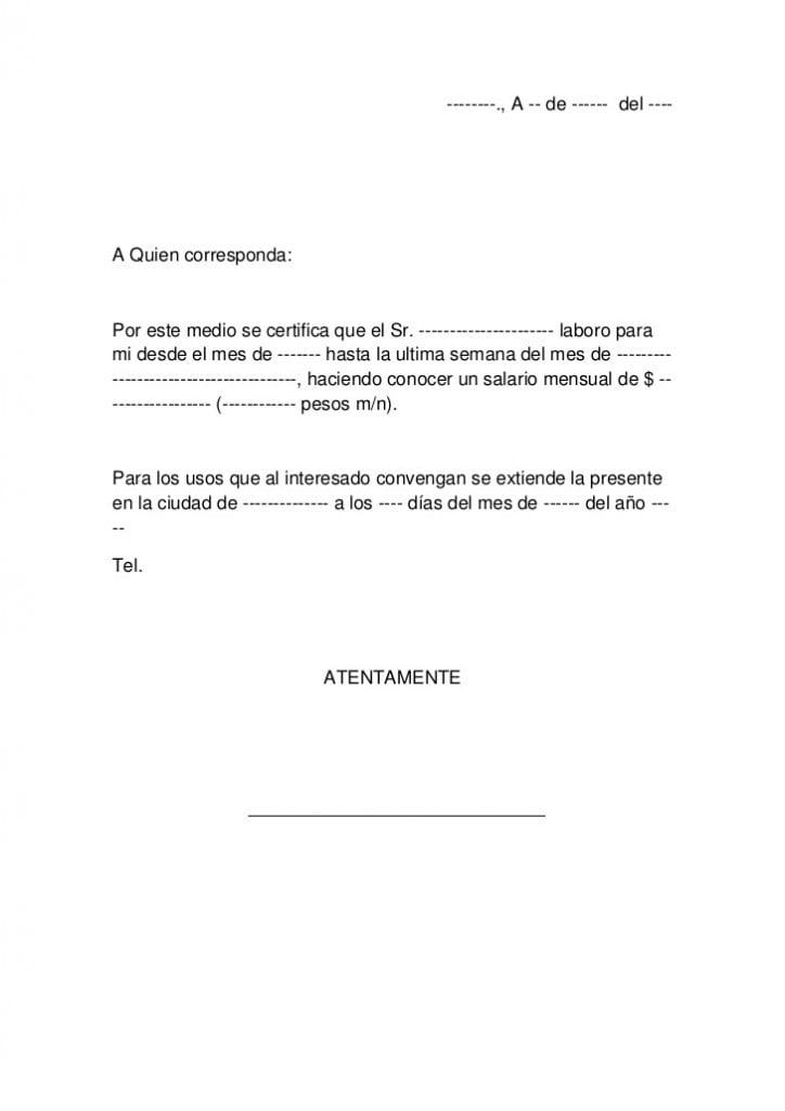Carta laboral de ingresos - Ejemplos De
