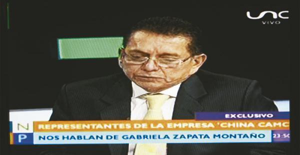 """La calificación de méritos de Gabriela Zapata no se hizo aquí"", dice asesor de empresa china CAMC"